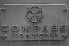 Faux Patina Bronze on Steel, Compass Ironwork Sculpture