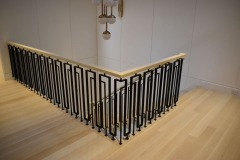 Contemporary Iron Railing with Wood Caprail