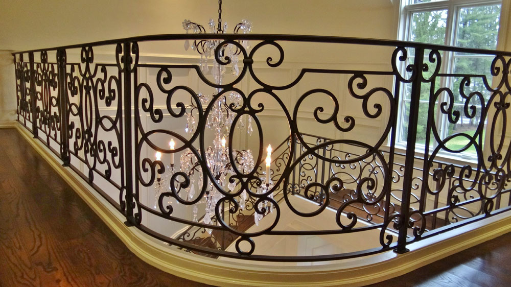 Custom Forged Blackened Iron Railing