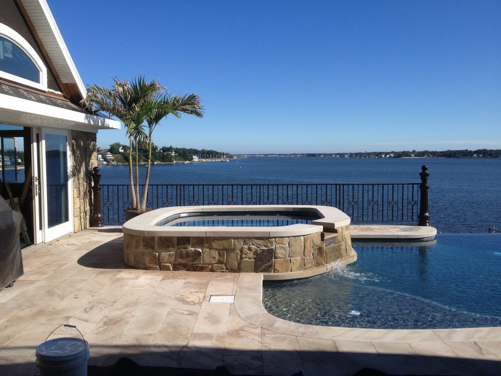 Marine Grade Aluminum railing for a pool on a water front property
