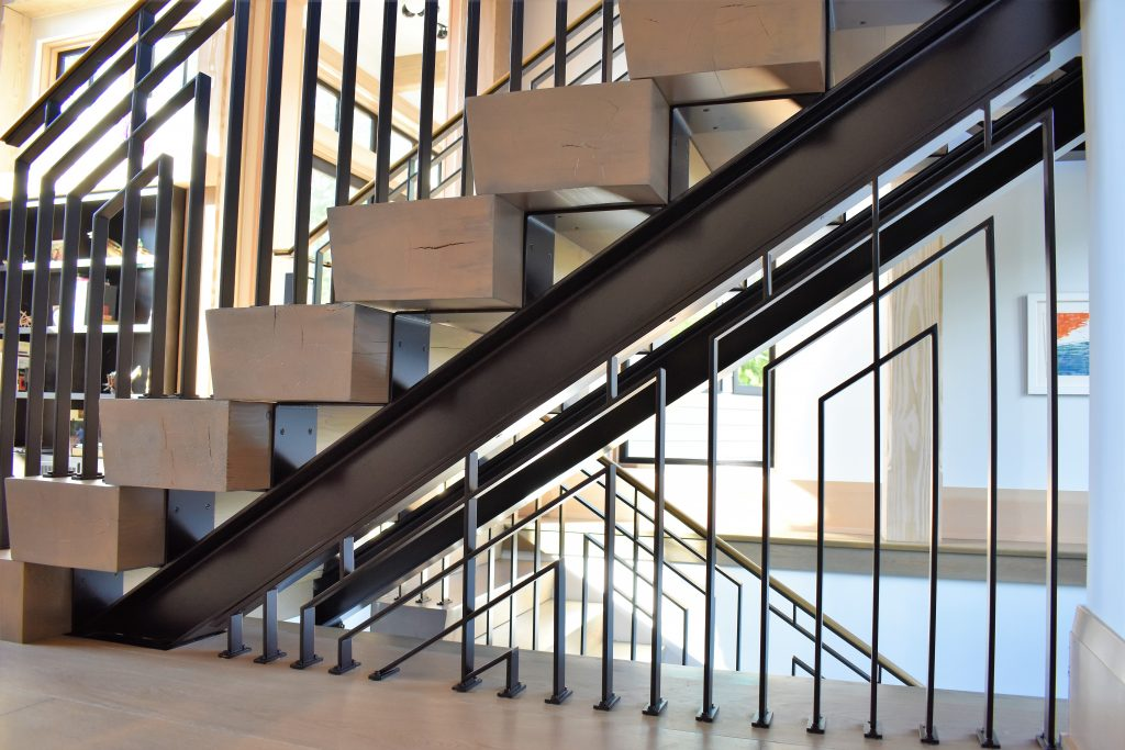 Modern Industrial staircase with a farmhouse style flair.