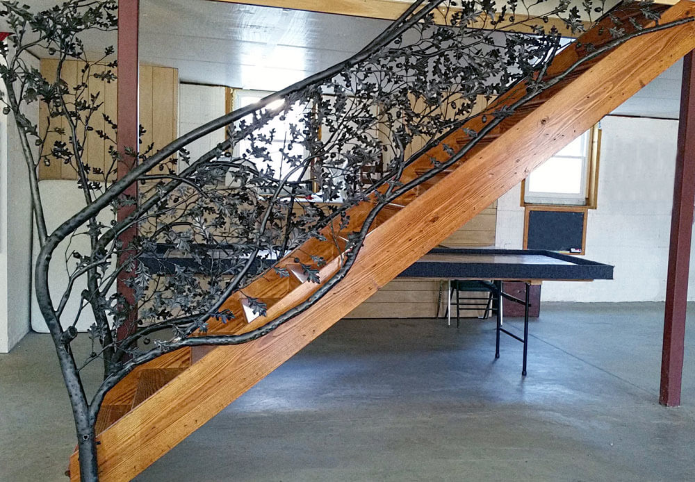 Custom Forged Iron Tree Stair Design