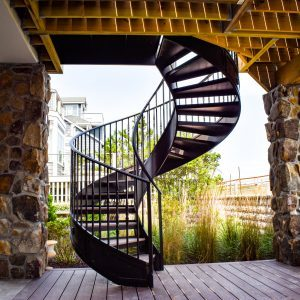Delaware shore helical Staircase off back terrace