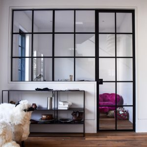 Modern Glass Wall and door crafted by Compass ironworks.