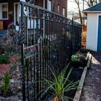 Ornamental boundary fence with iron vines and roses.