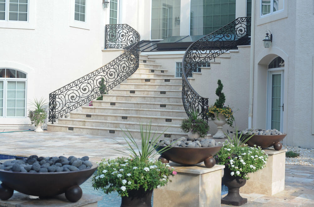 Custom Forged Pool Stair Railing