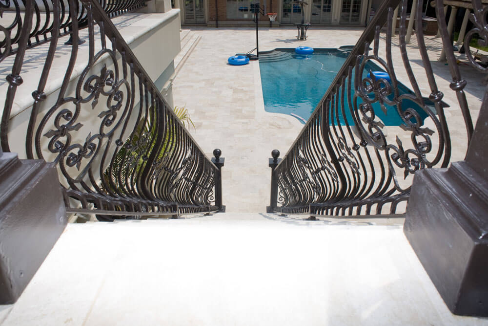 Custom Belly Stair Railing to Pool Area