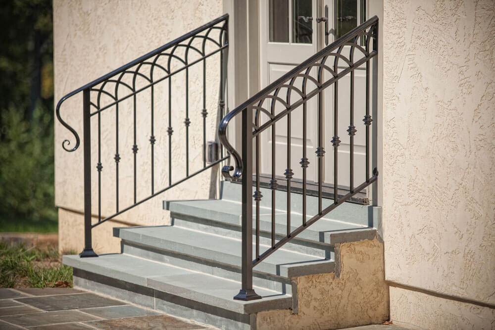 Arched Design Three Rail Stair Railing