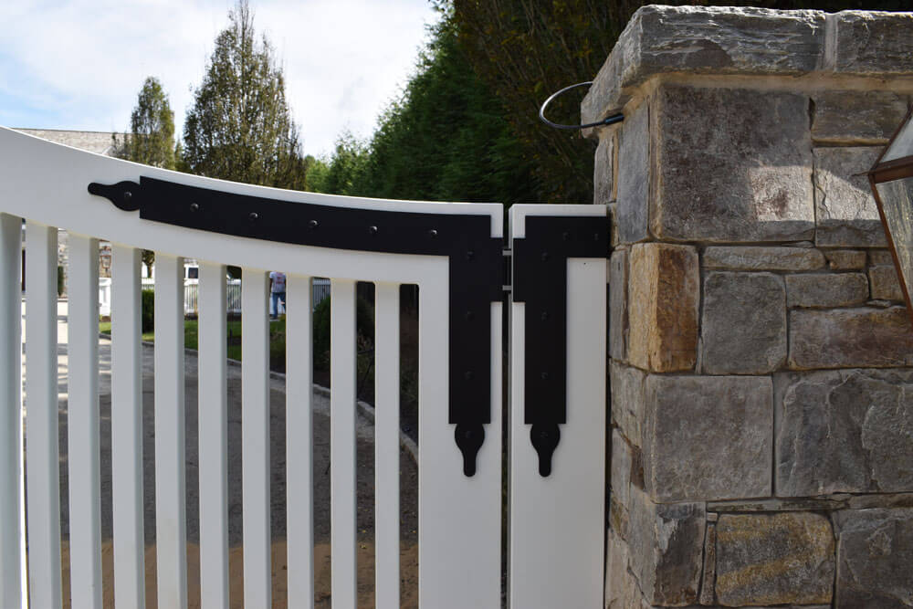 Faux Strap Hinges on Custom Aluminum Driveway Gate