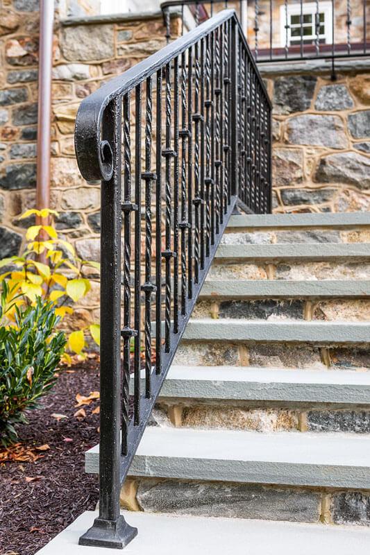 Custom Antique Painted Replication Iron Stair Railing