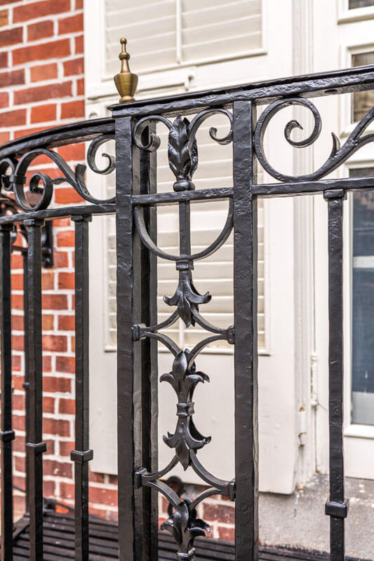 Custom Detailed Post Ending On Restored Iron Balcony Railing