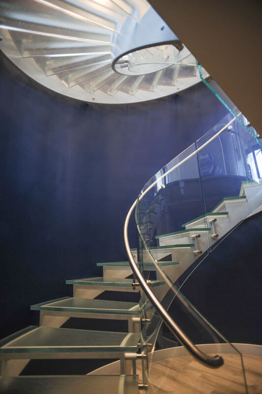 Stainless Handrail on Glass Stair