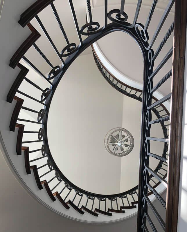 Custom Curved Iron Stair Railing