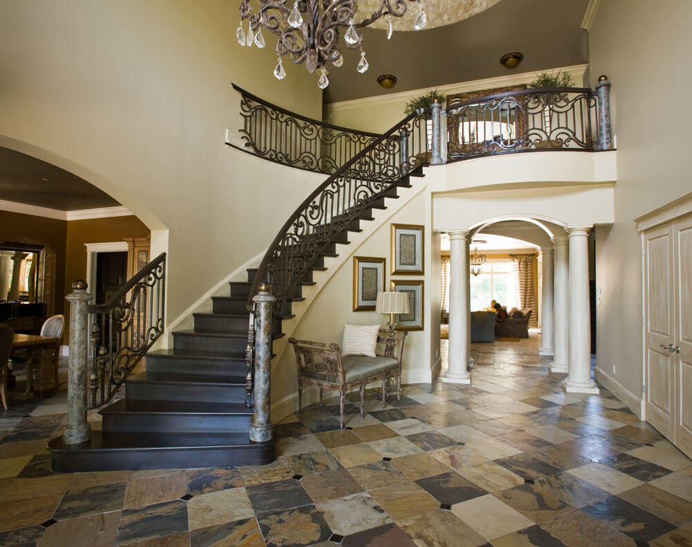 Beautiful Iron Railing Encapsulated By Beautiful Interior Design