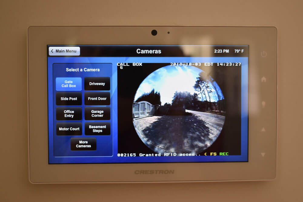 Crestron Home Security System - Camera Mounted To Gate