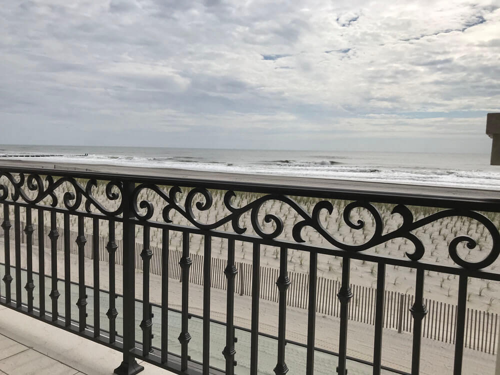 Custom Designed Deck Railing Over Looking The NJ Shore