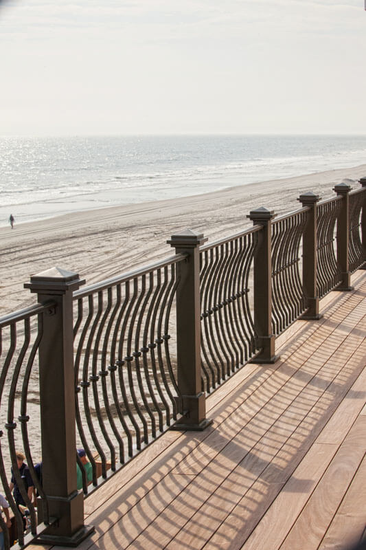 "Elegant Forged Knuckle 3"" Belly Railing With Bold Posts on Shore Front"