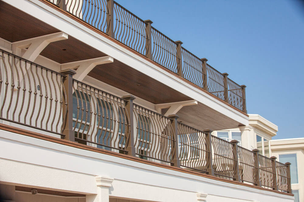 Strong Deck Railing Along Shore Front Deck
