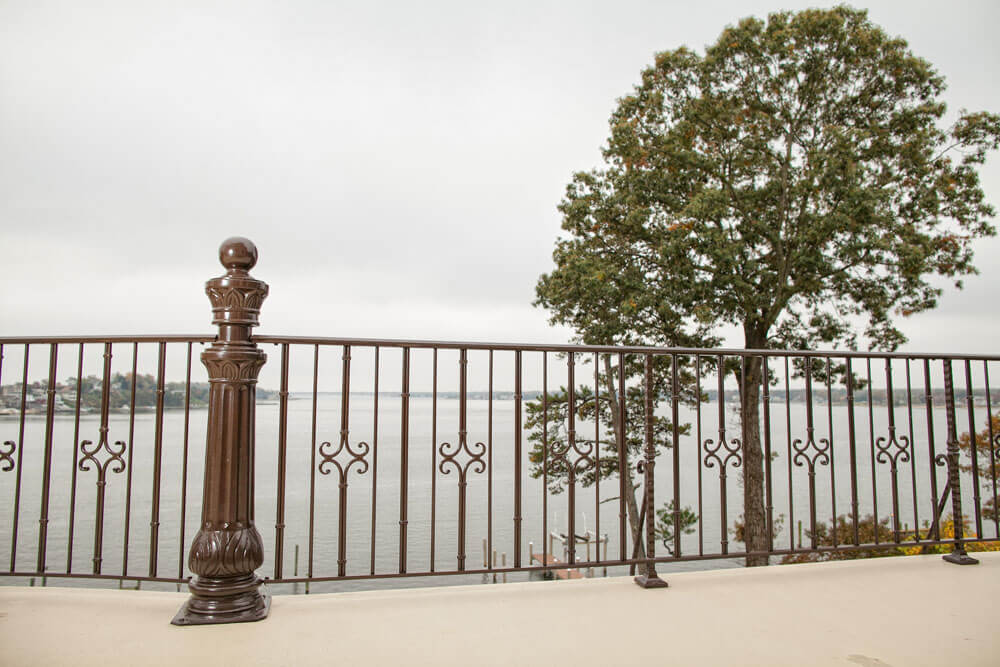 Custom Railing Design Overlooking Water Front