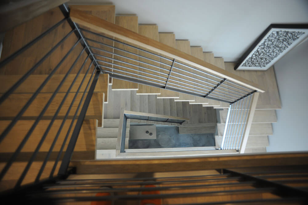 Steel Stair with Wooden Caprail