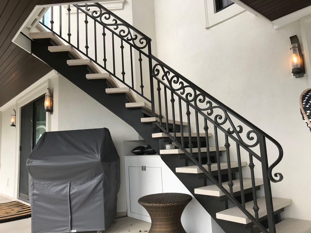 Stone Treads On Exterior Steel Stair