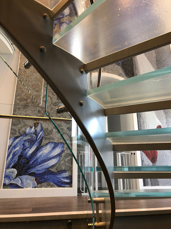 Steel Stair with Glass Railing and Treads