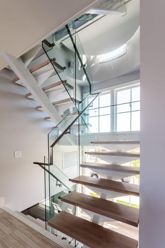 Custom Stainless Handrail on Structural Steel Stair