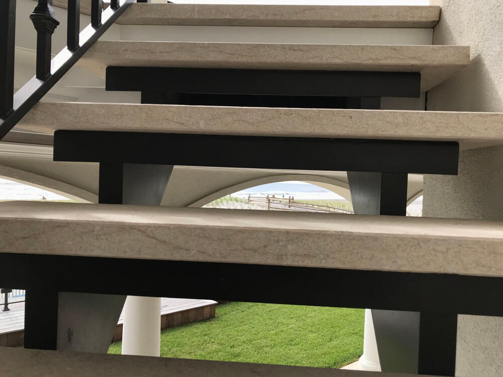 Steel Stair Structure with Stone Treads
