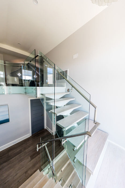 Custom Glass Railing on Steel Structure Stair